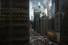 Tall Buildings And Busy Streets In Downtown Toronto, Canada.