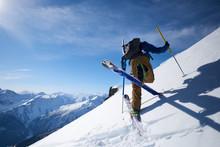 Ski Tourer Doing An Uphill Kic...