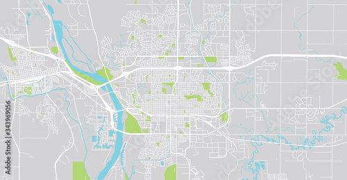 Urban vector city map of Bismarck, USA Fototapeta