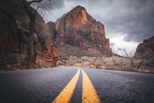 A Road Between Mountains In Zion National Park, Utah