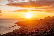 Ocean Sunset Over Town In Port...
