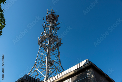 Cellular radio tower, antenna used for mobile phones telecommunications Canvas Print