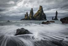 Reynisdrangar Rocks In Vik, Ic...