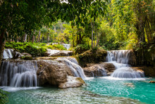 Kuang Si Or Kunag Xi Waterfall...
