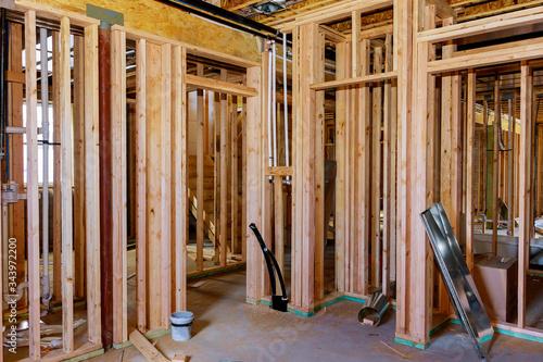 Basement unfinished under construction residential home framing - 343972200