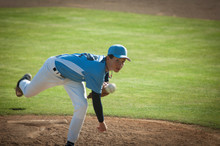 Pitcher In Light Blue And Whit...
