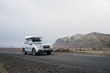 Car Driving On Road In Iceland