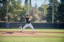 Baseball Pitcher Throwing Ball On Baseball Field