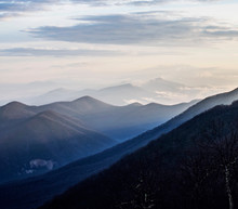 Sunrise Hits The Tops Of Mountains Along The Blue Ridge Parkway
