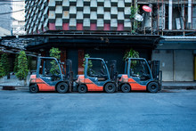 Fork Lift Trucks Parked On Empty Street In The Patpong Area Of Bangkok