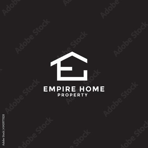 Fotografie, Obraz letter e for empire home property logo design template