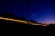 high speed train track at night