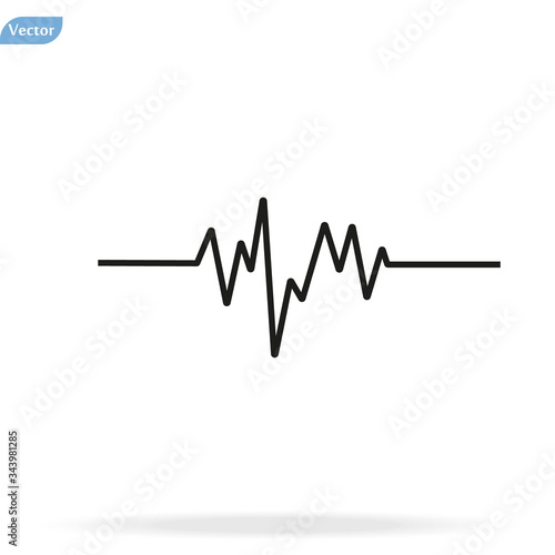 Pulse Heart Rate Vector Icon in flat style Canvas-taulu