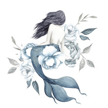 Watercolor Illustration With Mermaid And Elegant Flowers, Isolated On White Background