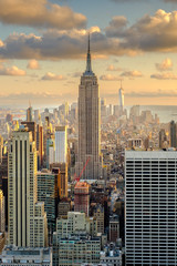 Fototapeta Nowy York Aerial view of New York City at sunset