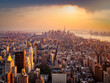 New York City illuminated by the rising sun