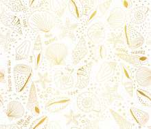 Metallic Gold Foil Seashells S...