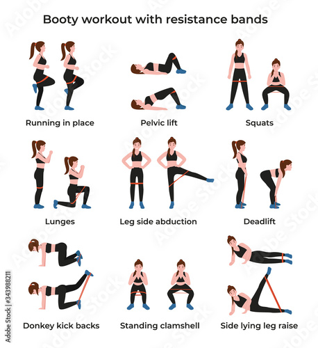 Booty or glutes workout with resistance bands Fototapet