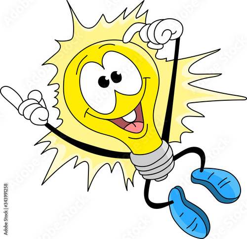 Cartoon light bulb jumping in the air happily vector illustration Tablou Canvas