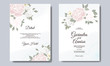 Elegant wedding invitation card with beautiful flower and leaves premium vector