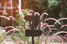 Close-up Of Metal Arrow Symbol By Grass Outdoors