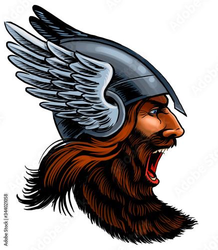 Photo Angry viking warrior. Digital illustration