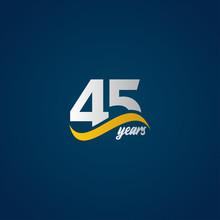 45 Years Anniversary Celebration Elegant White Yellow Blue Logo Vector Template Design Illustration