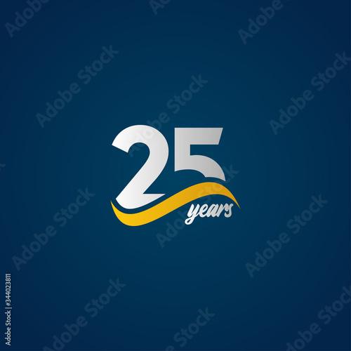 25 Years Anniversary Celebration Elegant White Yellow Blue Logo Vector Template Fototapete