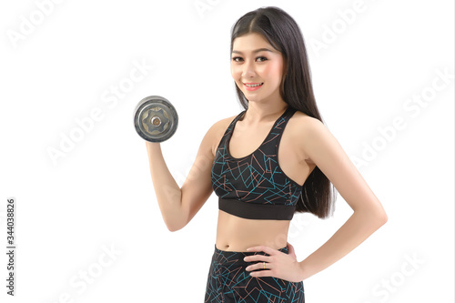 Fotografering Tan Skin Asian Fitness Girl in Sexy Cute Sport Bra black spandex pants Exercise warm up