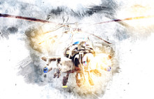 Military Helicopter Drawing Il...