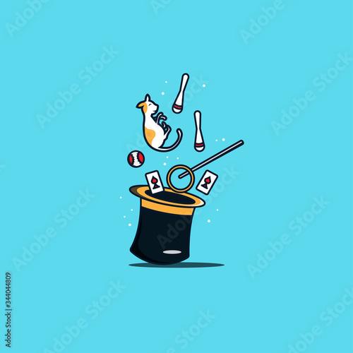 magic wand and hat. magic vector illustration Wall mural