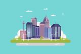 Fototapeta Miasto - Smart city flat design with modern concept skyscrapers in the future