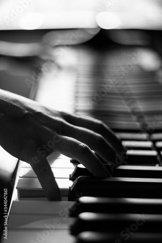 Fototapety, obrazy: Mano de mujer tocando teclado de piano