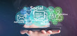 Leinwanddruck Bild - Businessman holding a cloud of social media network icon