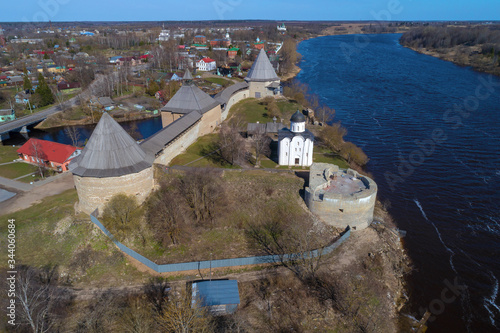 View of the Staraya Ladoga Fortress on a sunny April day (aerial photography) Fototapeta