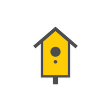 Wooden Birdhouse Colorful Vector Icon, Nature Simple Illustration. Isolated Single Icon