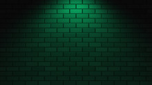 Black Brick Wall With Green Neon Light With Copy Space. Lighting Effect Green Color Glow On Brick Wall Background. Royalty High-quality Free Stock Photo Image Of Blank, Empty Background For Texture