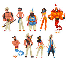Oriental Fairy Tale Cartoon Characters Collection, Beautiful Arabian Princess, Sultan, Vizier, Aladdin, Fire Genie, Vector Illustration