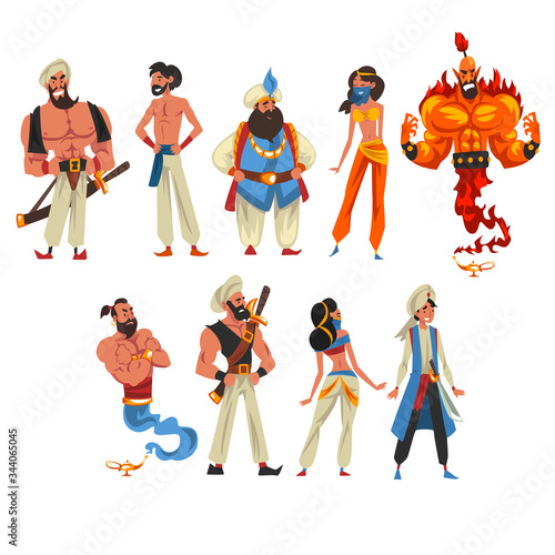Fotografia Oriental Fairy Tale Cartoon Characters Collection, Beautiful Arabian Princess, S