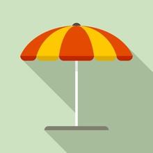 Beach Umbrella Icon. Flat Illu...