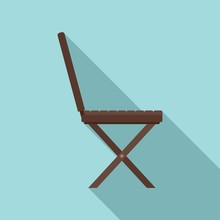 Portable Wood Chair Icon. Flat...