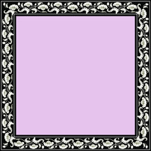 Vintage Square Frame With Black & White Tulips. Art Nouveau Style. Vector.
