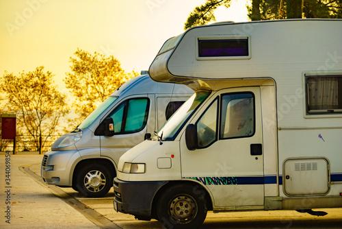 Obraz Camper cars on roadside parking area - fototapety do salonu