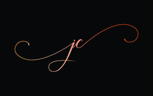 Jc Or J, C Lowercase Cursive Letter Initial Logo Design, Vector Template