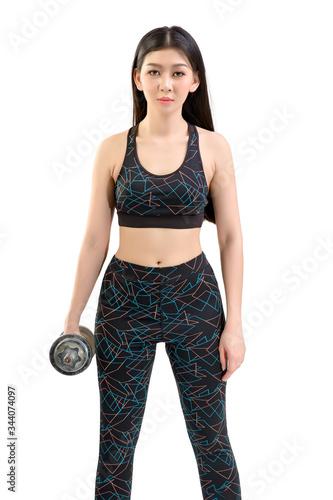 Tan Skin Asian Fitness Girl in Sexy Cute Sport Bra black spandex pants Exercise warm up Billede på lærred
