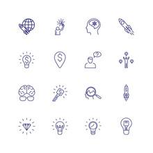 Startup Line Icon Set. New Ide...