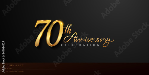 Photo 70th anniversary celebration logotype with handwriting golden color elegant design isolated on black background