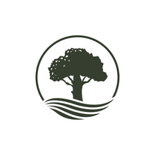 Tree River Logo Design. Nature Environment, Oak Silhouette, Tree Of Life, Green Earth. Emblem Seal Stamp Style