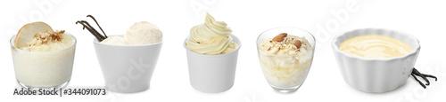 Fototapeta Set of vanilla puddings, ice cream and frozen yogurt on white background obraz