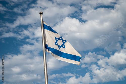 Israel flag over Masada fortress Canvas Print